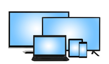 tv sets: computing concept - lots of different monitors of tv sets, laptop, tablet PC, smartphone