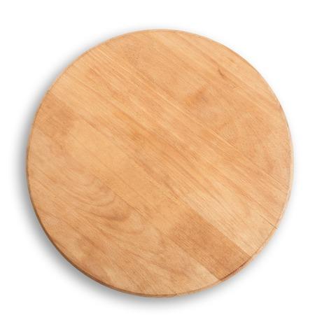 houten ronde raad voor pizza geïsoleerd op een witte achtergrond - boven weergave Stockfoto