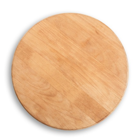 wooden round board for pizza isolated at white background - above view