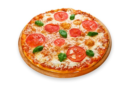 Delicious italian Margherita pizza with tomatoes and mozarella - thin pastry crust at white background on wooden desk Banco de Imagens