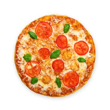 Köstliche italienische Margherita Pizza mit Tomaten und Mozarella - dünne Kruste auf weißem Hintergrund, über Aussicht