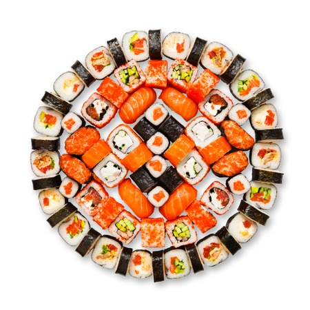 sushi: Japanese food restaurant delivery - sushi maki california gunkan roll platter big set isolated at white background, above view Stock Photo