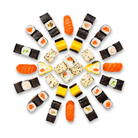 seafood platter: Japanese food restaurant delivery - sushi maki california roll platter set isolated at white background, above view Stock Photo