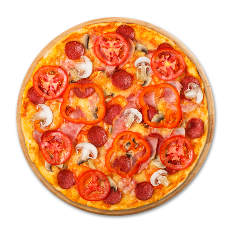 Delicious pizza with mushrooms, peppers and pepperoni - thin pastry crust at wooden round desk isolated at white background, above view Stock Photo