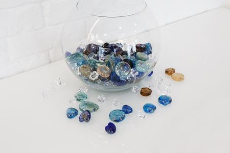 Home Design Decorative Glass Pebbles Scattered Near Vase At