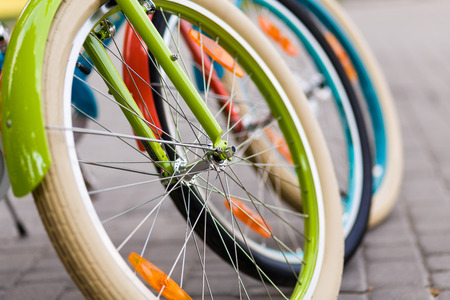 three wheel: Three beautiful lady city bright colored bicycles or bikes for woman standing in the summer park outdoors, wheel closeup
