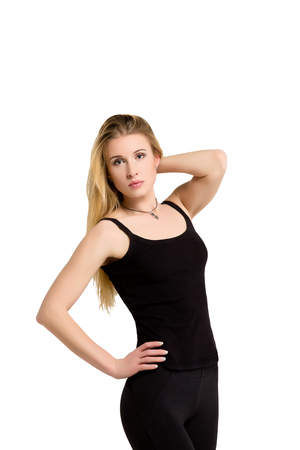 weightloss: Weight-loss, diet concept - slim thin athletic young beautiful blonde woman shows her good shape isolated at white background. Fitness woman. Slimming and dieting. Good shape figure.