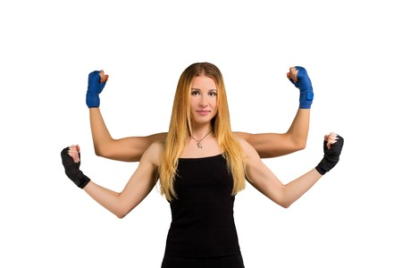 handed: Pretty sporty young woman multi handed shows her strenght. Fitness woman success. Strong muscles. Fitness girl shows strong arms. Girl isolated at white background with multiplied hands show muscles.