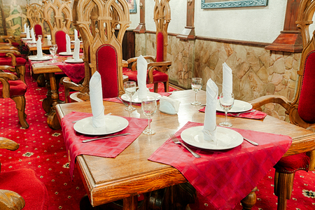 styled interior: Restaurant interior styled as ancient medieval castle, palace.