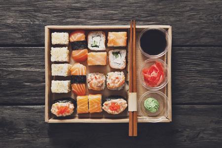 gourmet meal: Japanese food restaurant, catering, sushi maki gunkan roll plate or platter set. Stock Photo