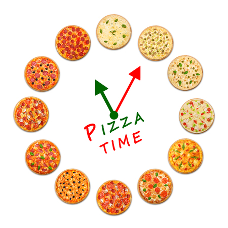 sample text: Pizza delivery company logo template with sample text. Clock made by many pizzas. Stock Photo