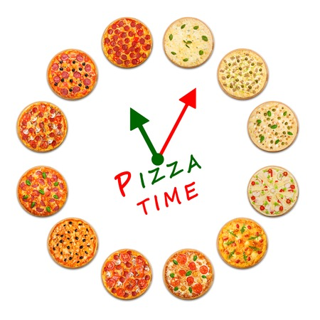 Pizza delivery company logo template with sample text. Clock made by many pizzas. Standard-Bild
