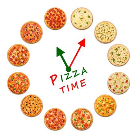 Pizza Lieferfirma Logo-Vorlage mit Beispieltext. Uhr, die von vielen Pizzen. Standard-Bild - 55382632