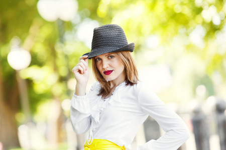 fedora: Sexual woman in fedora hat.