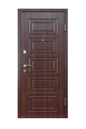 wenge: Closed wenge wooden door isolated at white background. Image of a closed door. Entrance to apartment. Dark brown wood, designed and textured front door with lock and handle. Modern Door design. Stock Photo