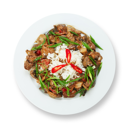 offal: Tasty chicken liver stewed with mushrooms served with white rice. Restaurant food. Offal Food top view isolated at white background. Stock Photo