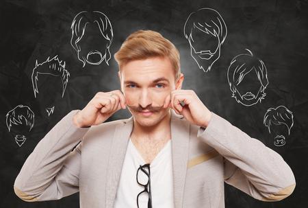 facial hair: Man choose facial hair style, beard or mustache.