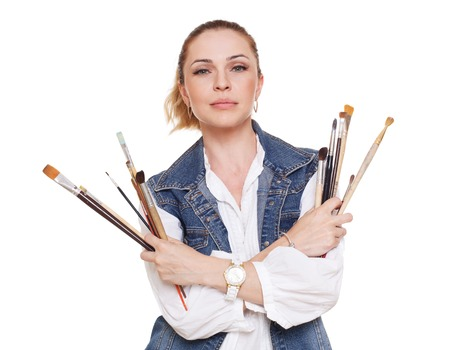 fine art: Woman artist isolated at white. Blonde middle aged woman with brushes, painter portrait. Artistic hobby, creative person. Fine art, art classes, education concept. professional artist.