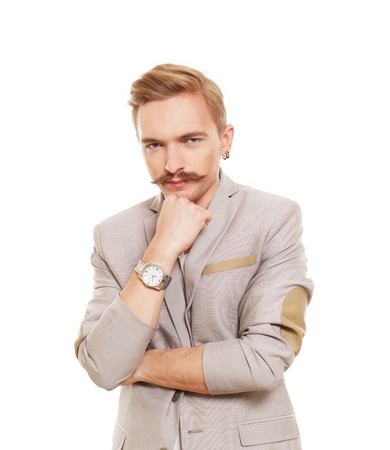 search solution: Thoughtful, pensive man isolated at white. Young man doubtful, solving problem. Caucasian male person thinking. Serious stylish guy with mustache consider some idea, search solution.