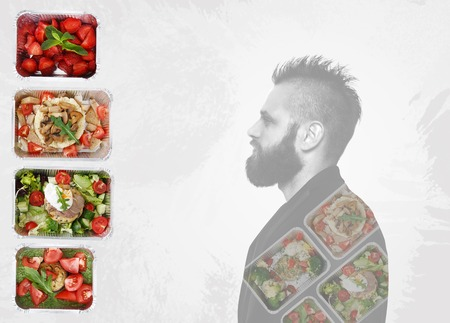 eat right: Healthy food and hipster man profile background. Take away of natural organic food in foil boxes. Fitness nutrition, strawberries, vegetables, meat and male portrait collage at white background.