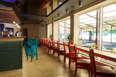 Modern Restaurant Or Cafe Interior. Public Place Interior Design, Bright  Red And Blue Wooden