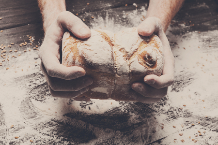 carefully: Warm fresh bread. Baking and cooking concept background. Hands carefully hold loaf on rustic wooden table, sprinkled with flour. Stained dirty hands of cook. Soft toning