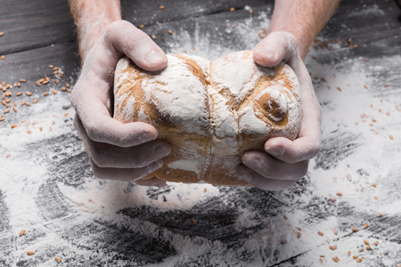 carefully: Warm fresh bread. Baking and cooking concept background. Hands of baker carefully hold loaf on rustic wooden table, sprinkled with flour. Stained dirty hands. Soft toning