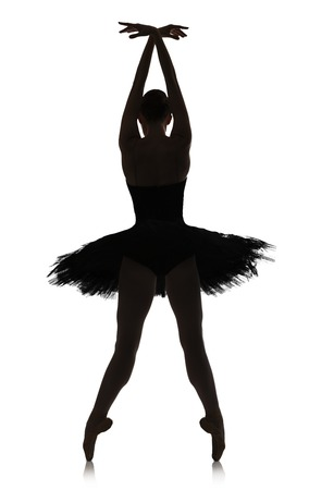 pirouette: A silhouette of graceful ballerina making ballet position against white background, isolated. Professional dancer in tutu skirt. Choreography classes concept