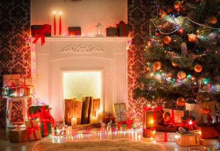 christmas living room decorations beautiful xmas lights garland decorated christmas tree near fireplace - Decorative Christmas Boxes With Lights