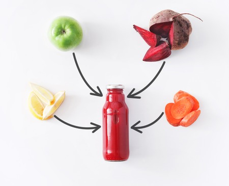 cleanse: Detox cleanse drink concept, vegetable smoothie ingredients. Natural, organic healthy juice in bottle for weight loss diet or fasting day. Beetroot, apple, carrot and lemon mix isolated on white