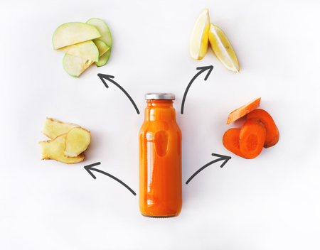cleanse: Detox cleanse drink concept, vegetable smoothie ingredients. Natural, organic healthy juice in bottle for weight loss diet or fasting day. Carrot, apple, ginger and lemon mix isolated on white Stock Photo
