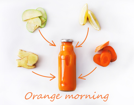 Detox cleanse drink concept, vegetable smoothie ingredients. Natural, organic healthy juice in bottle for weight loss diet or fasting day. Carrot, apple, ginger and lemon mix isolated on white 写真素材