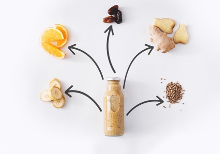 Detox drink concept, smoothie ingredients collage. Natural, organic healthy juice in bottle for weight loss diet or fasting day. Banana, date fruit, orange and ginger mix isolated on white background