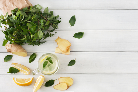 cleanse: Detox cleanse drink, natural lemonade ingredients. Organic healthy juice in glass jar for weight loss diet or fasting day. Mint, lemon and ginger mix on white wood, top view with copy space Stock Photo