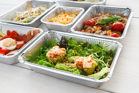 ration: Healthy lunch takeaway for diet, daily meals background on wood Stock Photo