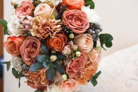 Hochzeit Blumen Brautstrauss Nahaufnahme Dekoration Aus Rosen
