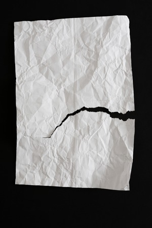 worn: Crumpled torn white paper texture, background for design with copy space for text , top view, copy space Stock Photo