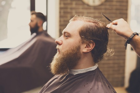 Male Haircut By Hairstylist At Barbershop Stylish Barber And