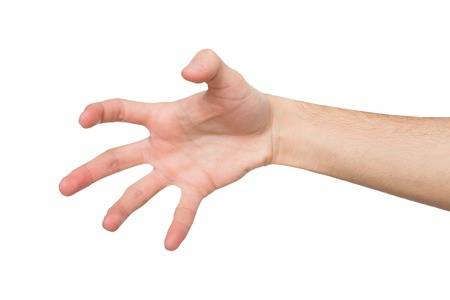 Close-up of male hand making gesture while grab some items on white isolated background, cutout, copy space