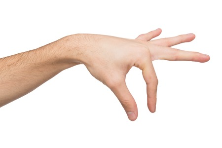Male hand making gesture picking up some items on white isolated background, cutout, copy space