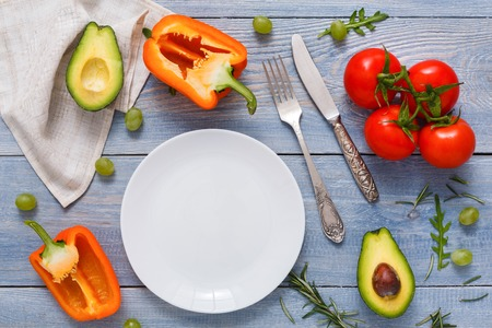 Eating healthy food, vegetables and fruits background, top view with copy space.