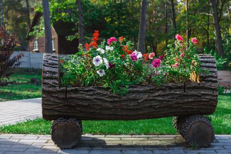 Diseño de paisaje al aire libre - cama de jardín con flores. Jardinera original en tronco de madera, jardín formal Foto de archivo - 78624650