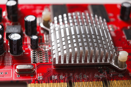 microprocessor: Computer motherboard close up. Components of microprocessor. Technology, science and electronics concept Stock Photo
