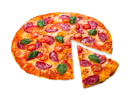 Delicious pizza with salami, pepperoni and cherry tomatoes - thin pastry crust at white background Stock Photo