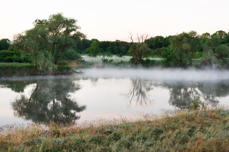 mirroring: Morning mist on the forest river. Water mirroring green forest. Nature background
