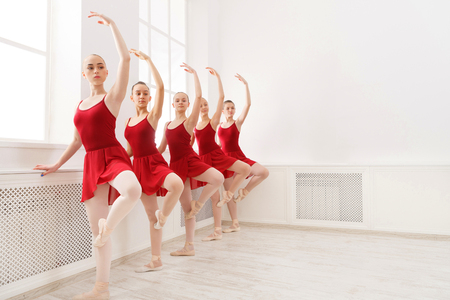 Young girls dancing ballet in studio. Choreographed dance by a group of graceful pretty young ballerinas practicing during class before performance. Classical dance school Фото со стока - 81790754