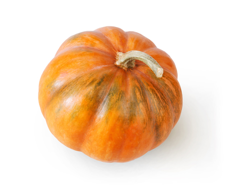 Fresh orange pumpkin isolated on white background, top view
