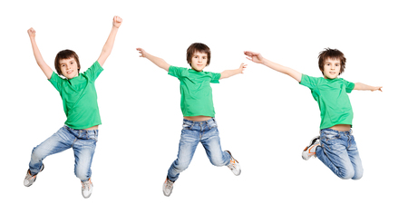Happy boy jumping on white isolated background. Active child having fun. Three poses of a bounce in one shot, copy space Stock Photo