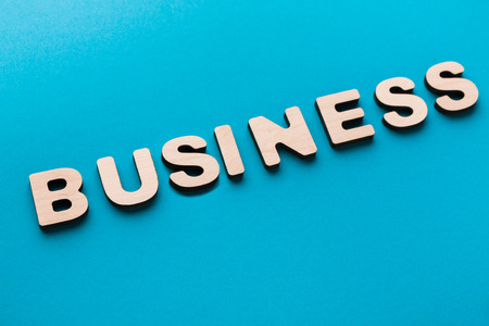 Word Business on blue background. Work, professionality, employment concept Stock Photo