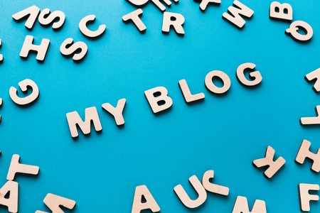 Words My Blog on blue background. Modern lifestyle, success, startup, business concept
